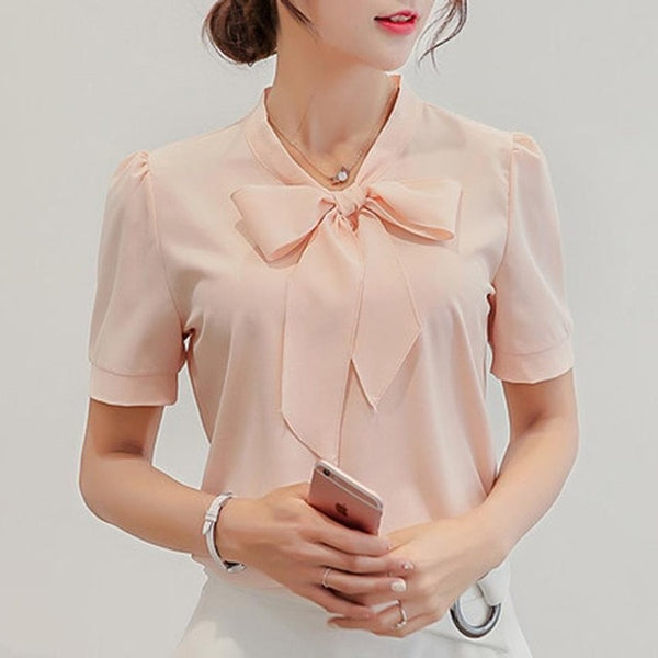 Short Sleeve Blouse with Front Neck Bow Tie - Cute Wayz