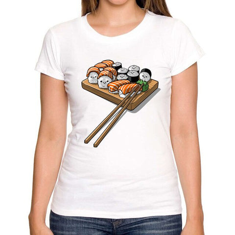 Cute Sushi Print T-shirt for Women - Cute Wayz