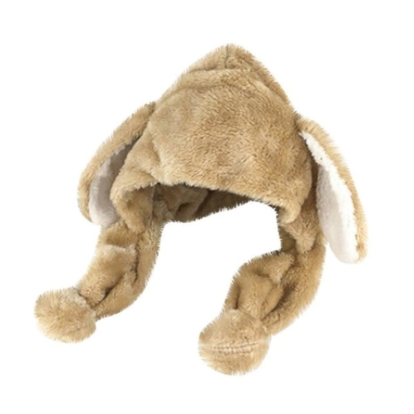 Rabbit with Ears Plush Beanie Hat - Cute Wayz