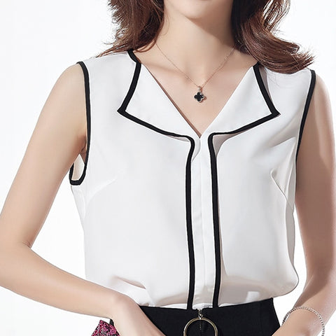 Sleeveless Front Fold V Neck Blouse Top - Cute Wayz