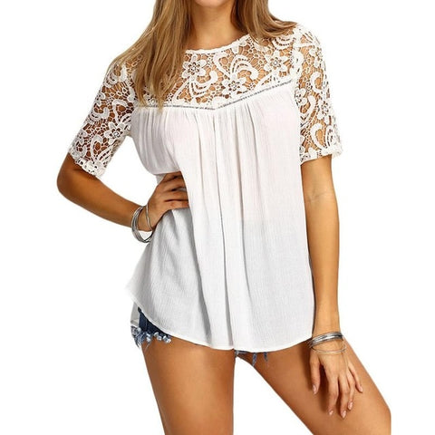 Lace Sleeve and Top Blouse with Criss Cross Back - Cute Wayz