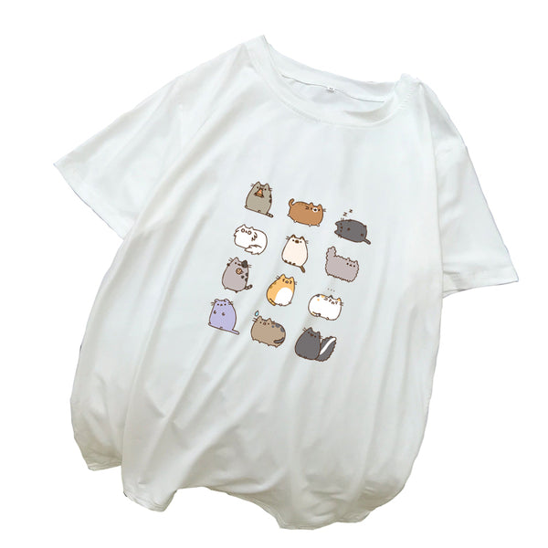 Cute Cats Cartoon T-shirt Print - Cute Wayz