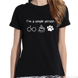 I'm a Simple Person T-shirt Print Read Coffee Pet - Cute Wayz