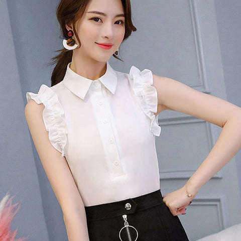 Ruffle Trim Sleeveless Collared Shirt Top - Cute Wayz