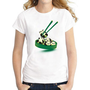 Cute Panda Dumpling T-shirt Print for Ladies - Cute Wayz
