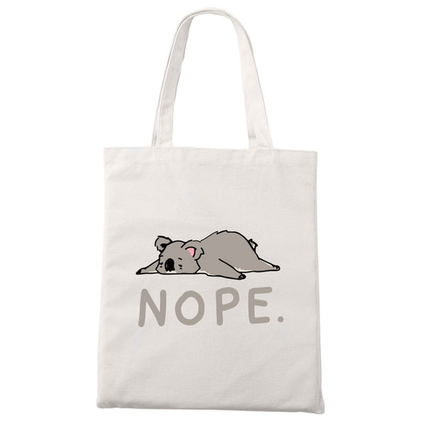 Nope Not Today Canvas Tote Shoulder Bag in Various Adorable Designs - Cute Wayz