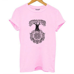 Tree Design T-shirt Print for Ladies - Cute Wayz