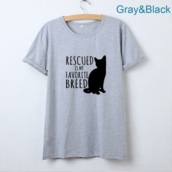 Cat T-shirt Print Rescued is My Favorite Breed - Cute Wayz