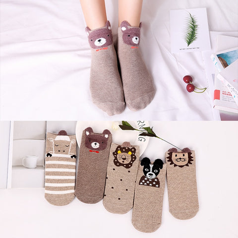 Animals with Ears Ankle Socks 5 Pairs - Cute Wayz
