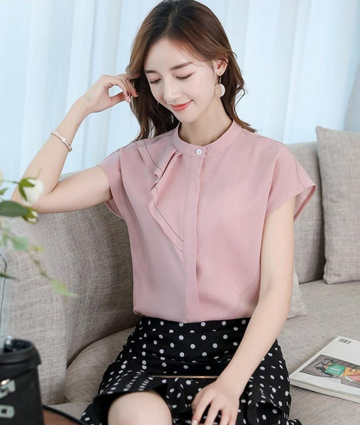 Mock Neck Button Chiffon Blouse Top with Ruffles - Cute Wayz