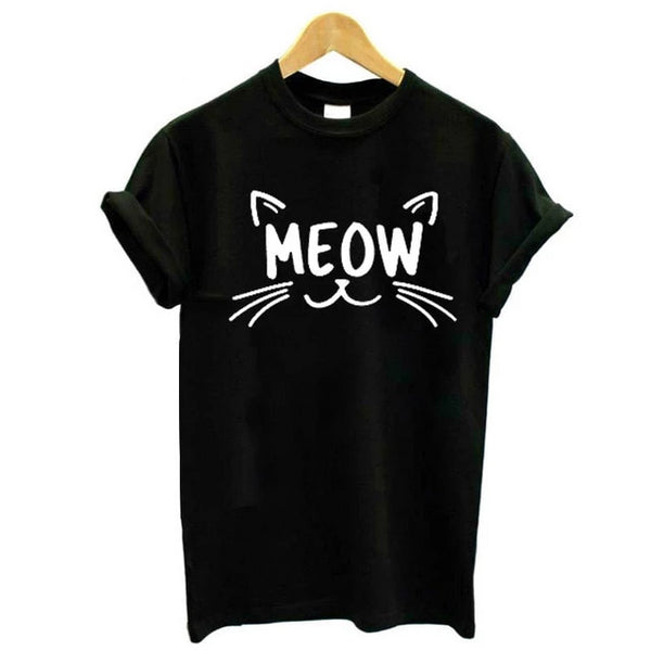 Cat Face Meow Print T-shirt - Cute Wayz