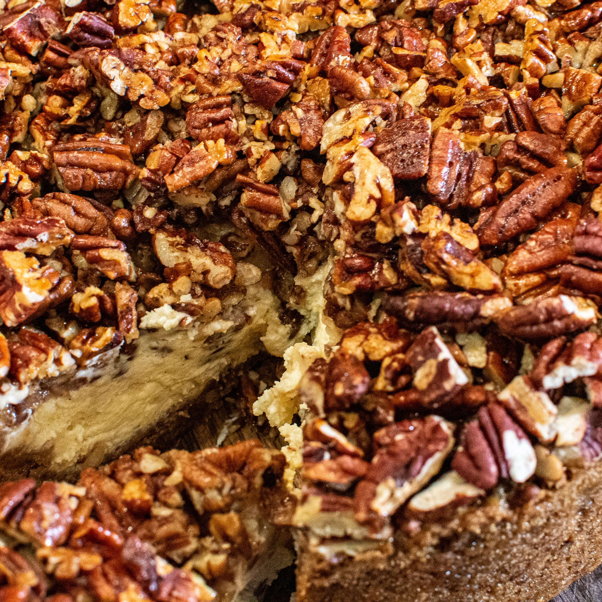 Smoked Pecan Pie topped Apple Cheese Cake