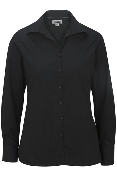 Edwards Ladies' Lightweight Long Sleeve Open Neck Poplin Shirt
