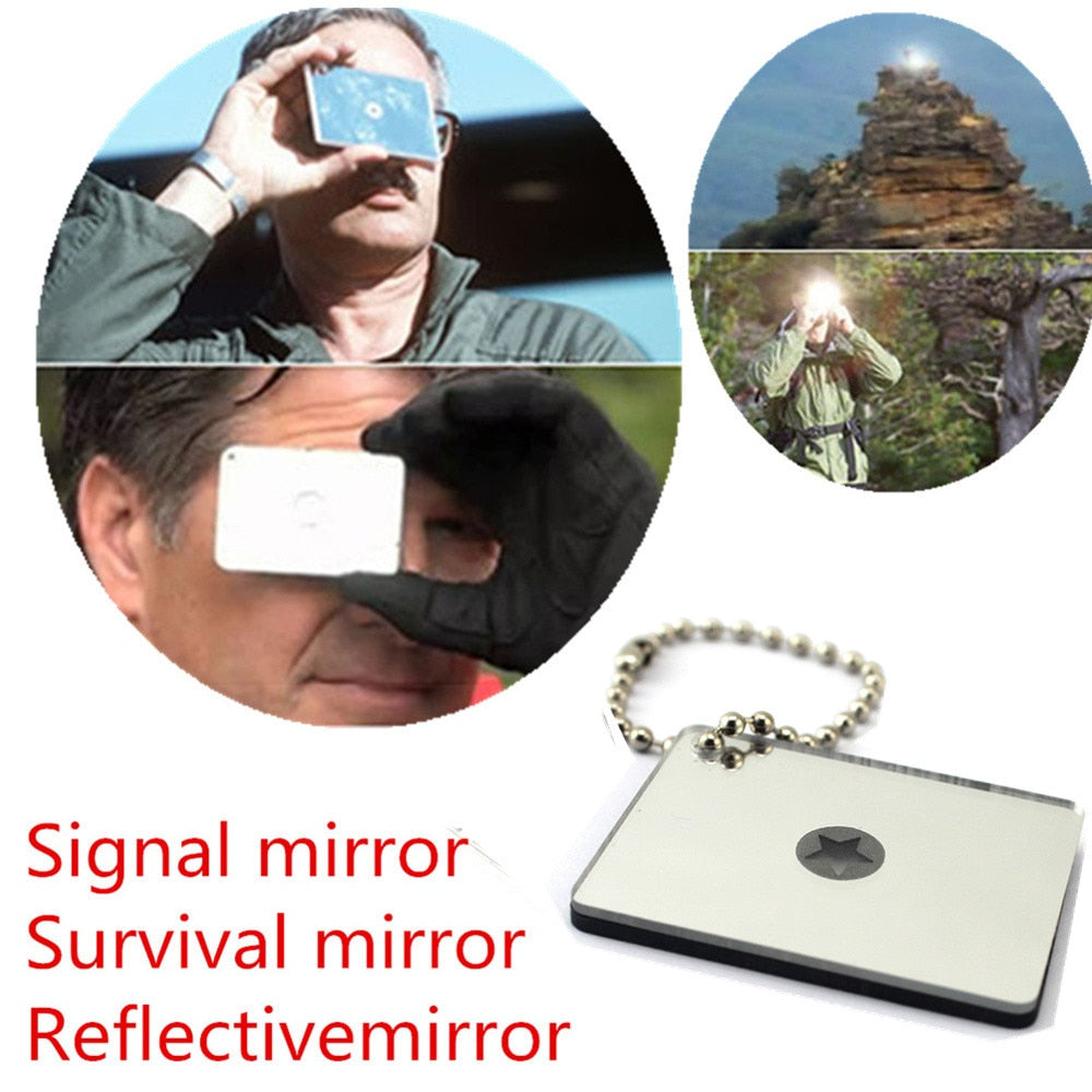 Bushcraft Outdoor Emergency Signal Survival Mirror - Rebelimage RD Bracelets Watches Necklaces, charm Skull Crown King Queen engagement