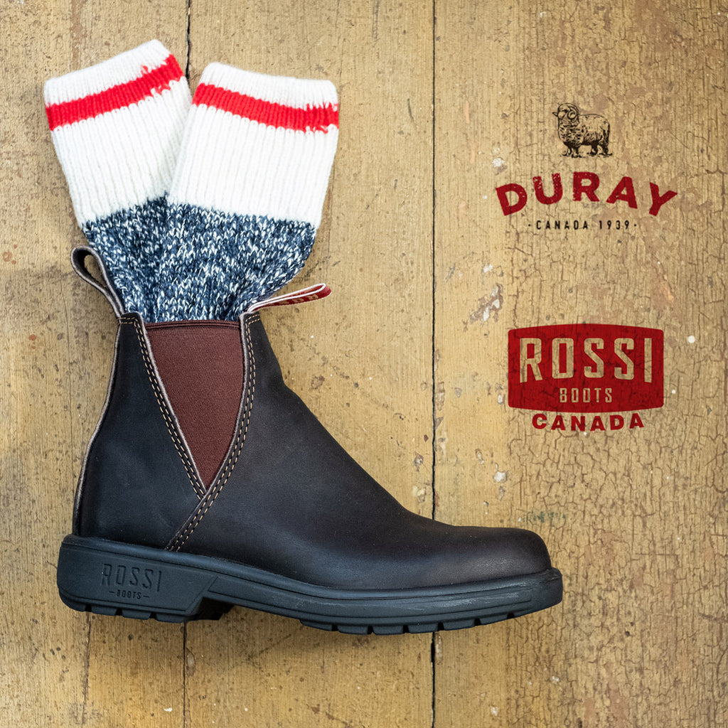rossi boots logo and duray socks
