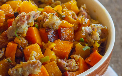 Butternut Squash and Andouille Sausage Bake