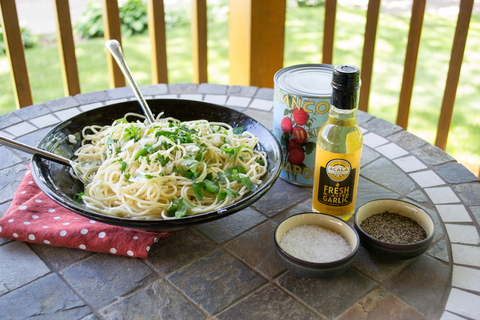 Garlic Acala Farms oil with pasta