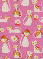 Cotton + Steel - Beauty Shop - Fancy Cats Pink