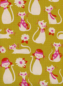 Cotton + Steel - Beauty Shop - Fancy Cats Yellow - PRICE PER HALF YARD