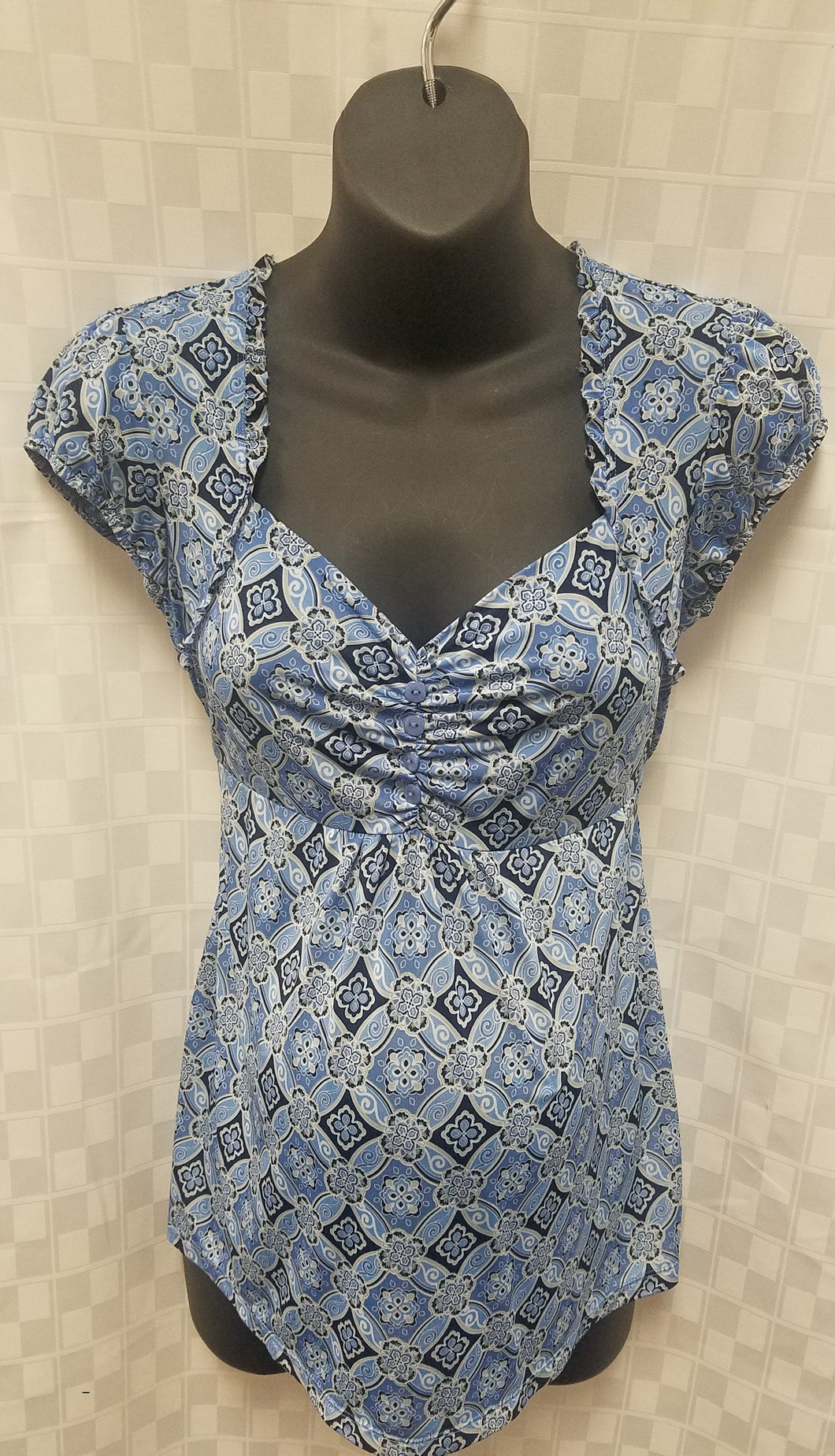 Small Blue Multi-Print Cap Sleeve Maternity Top