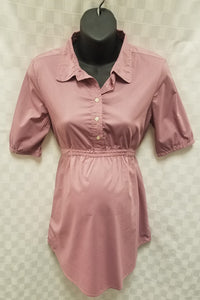 Small Dusty Rose Button Up Tie Back Maternity Top