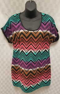 Medium Multi-Color Chevron Maternity Blouse