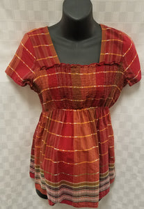 Large Red Plaid Baby Doll Maternity Blouse