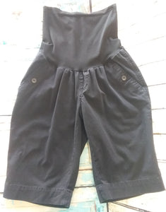 Small Full Panel Black Bermuda Maternity Shorts