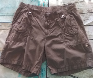Stretchy Small Brown Cargo Maternity Shorts