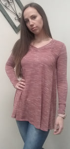 Light Pink & White Long Sleeve Tunic Top