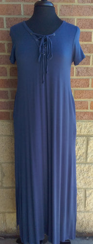 Solid Navy Lace Up Maxi Dress