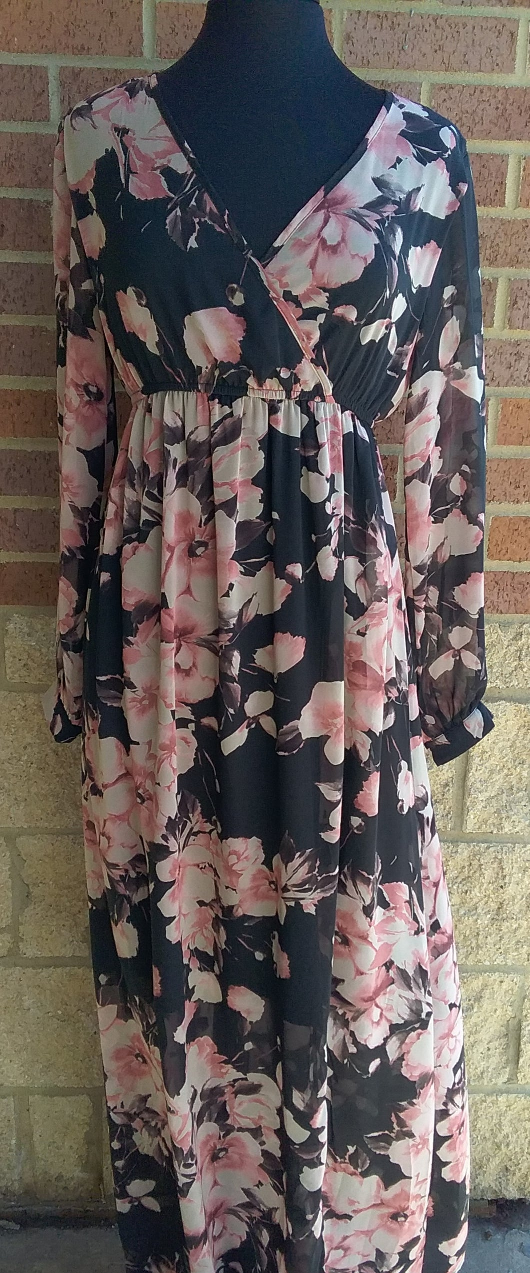 Charcoal Floral Wrap Long Sleeve Maxi Dress