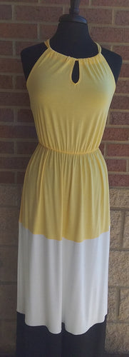 Yellow, White, Black Colorblock Maxi Dresses