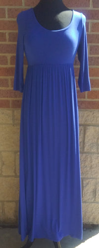Royal Blue 3/4 Sleeve Maxi Dress
