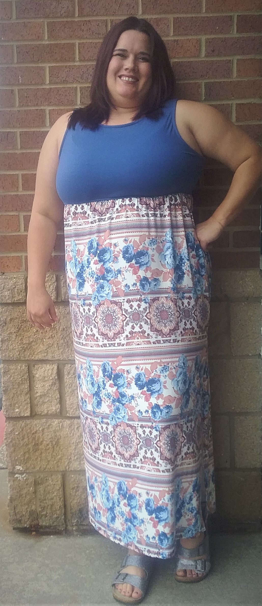 Blue & Mauve Sleeveless Maxi Dress