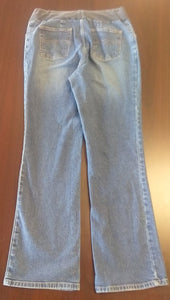Large Under Belly Panel Medium Wash Wide Leg Jean