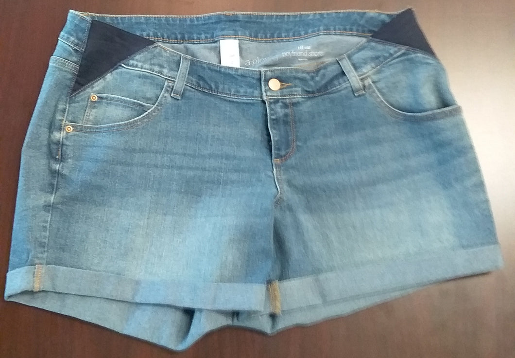 New Boyfriend Side Panel Medium Wash Maternity Shorts- 2 Sizes