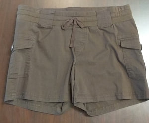 Medium Stretch Under Belly Brown Maternity Shorts