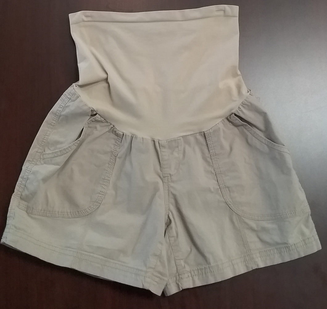 Small Full Panel Khaki Cargo Maternity Shorts