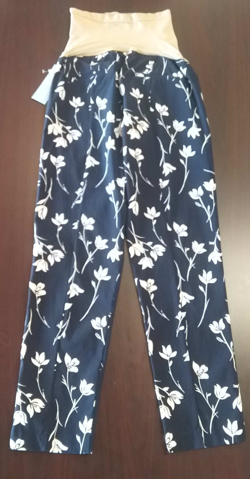 New XL Full Panel Navy Floral Skinny Maternity Pants