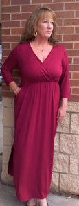 Burgundy 3/4 Sleeve Solid Maxi Wrap Dress