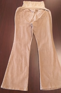 Large Tan Full Panel Cord Maternity Pants