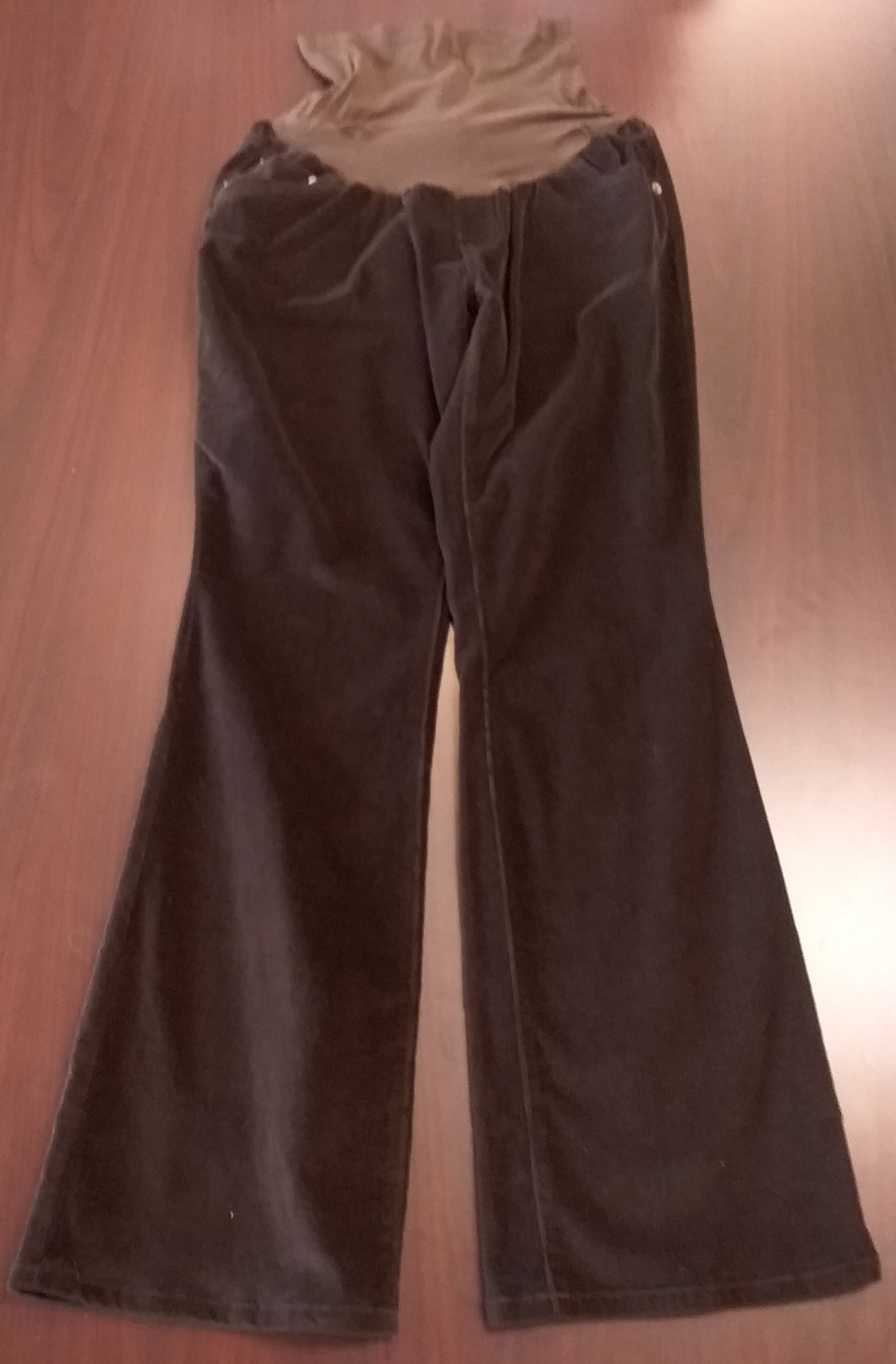 Large Full Panel Brown Cord Maternity Pants