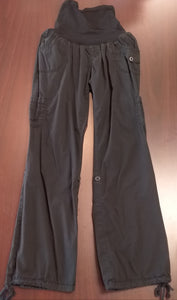 Large Full Panel Black Cargo Maternity Pants