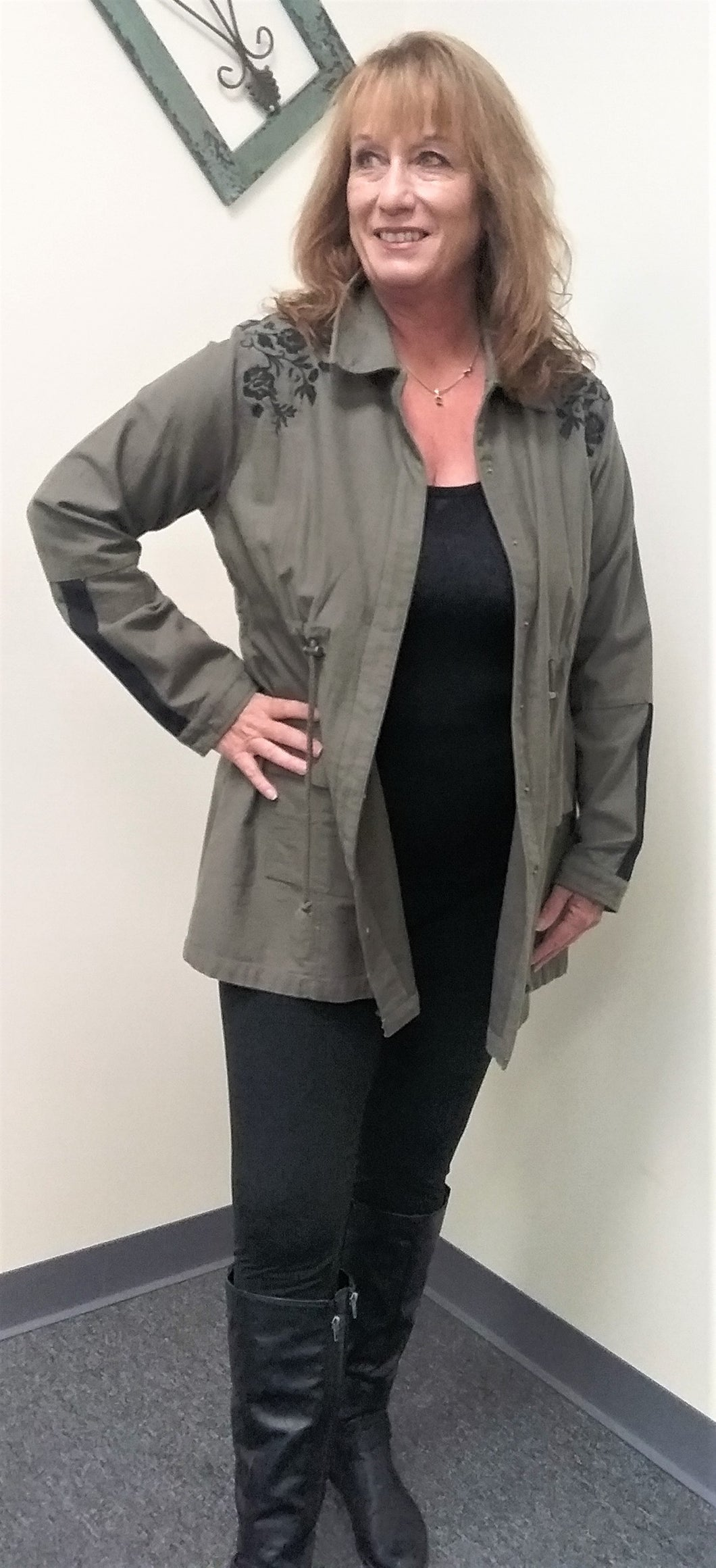 New Olive Embroidery Twill Maternity Coat
