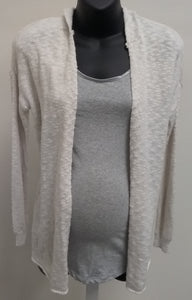 New Small Light Creme Hooded Cardigan