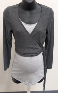 Medium Dark Gray Crop Tie Cardigan
