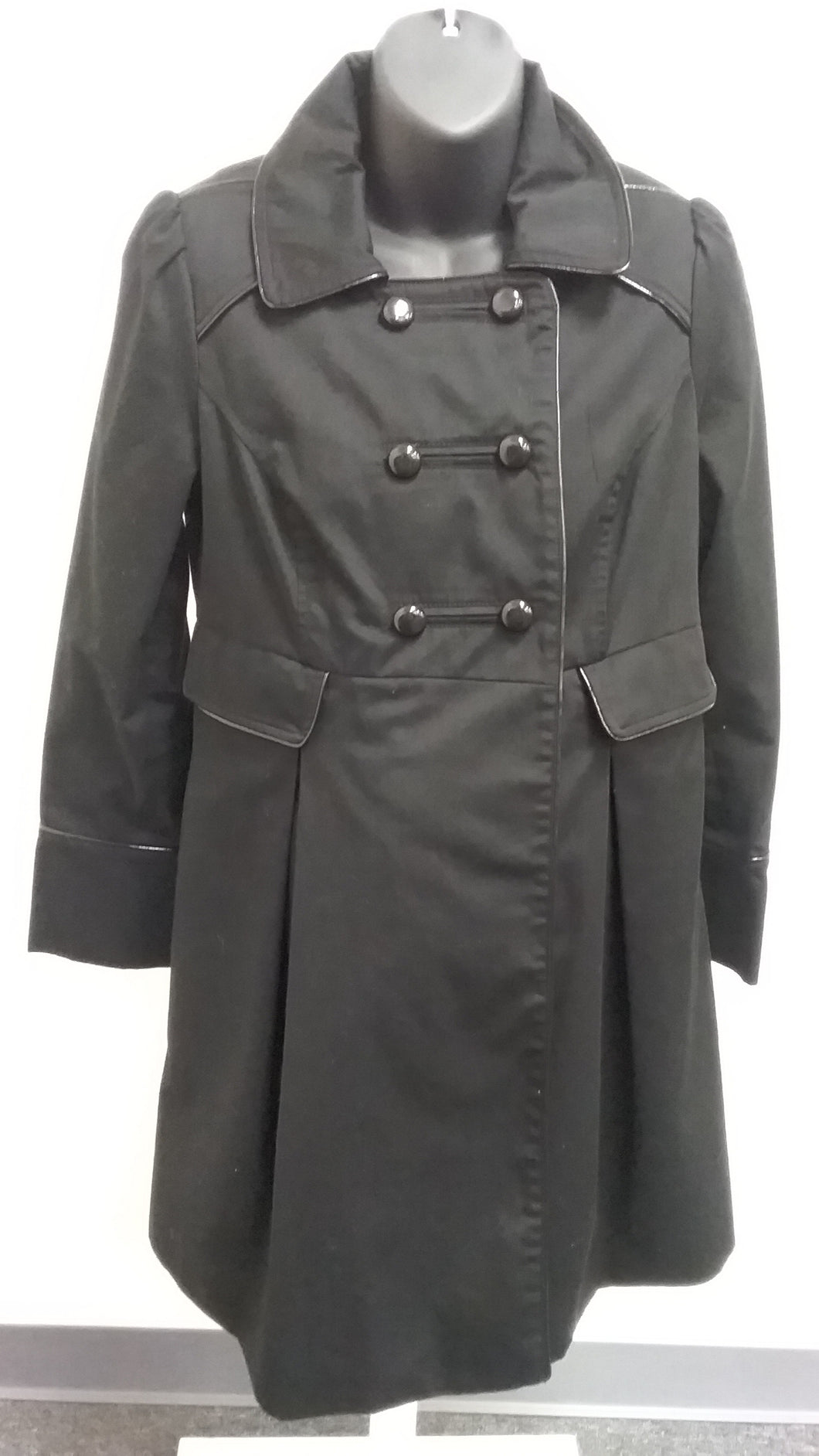 Small Black Trench Maternity Coat