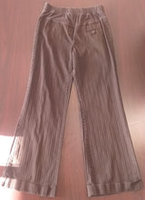 Small Full Front Panel Brown Striped Maternity Pants
