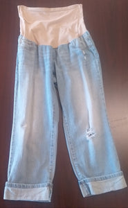 Medium Full Panel Light Wash Distressed Maternity Capri